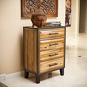 Glendora Rustic Natural Stained Acacia Wood Chest Nightstand