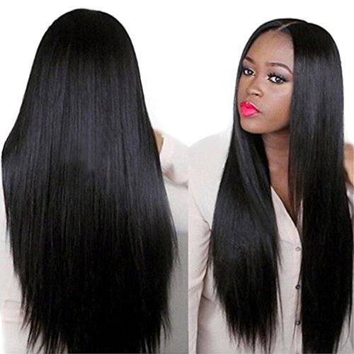 Search : SCENTW Long Straight Wigs With Middle Part Natural Looking Black Hair Wigs For African American Women Heat Resistant Synthetic Full Wigs+ Free Wig Cap (Straight1)