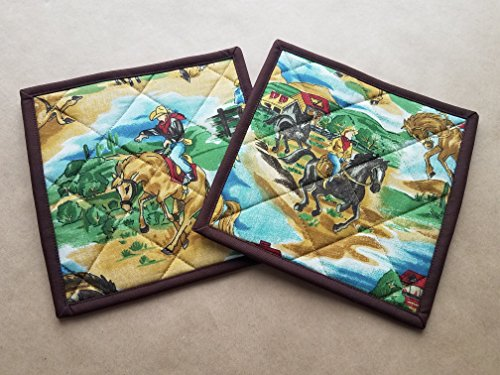 Cowboy Rodeo Potholders  Set Of 2 Quilted Potholders  Hotpads  Trivets  Rodeo Home Decor  Bucking Broncos  Cowboy Themed Home  Rustic Country Kitchen Linens  Country Western Gifts