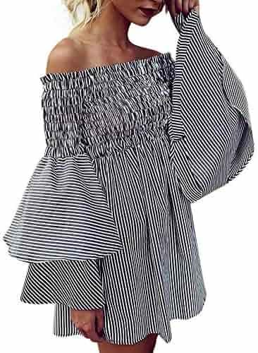 Wokasun Women Dress Holiday Off Shoulder Stripe Party Ladies Casual Dress Strapless Long Sleeve Dress