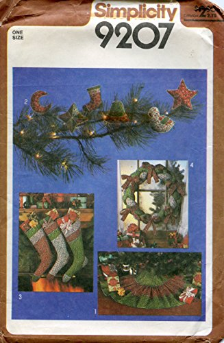 Simplicity Pattern 9207 Stuffed Christmas Ornaments, Stockings, Wreath and Tree-Skirt - One Size