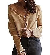 PRETTYGARDEN Women's Crop Cardigan Sweater Long Sleeve Button Down Off Shoulder Knit Sweaters Top