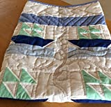 Amish Hand Sewn Baby Boy Crib Quilt - SAILBOATS