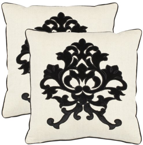 Safavieh Pillow Collection 18-Inch European Crest Pillow, Onyx and White, Set of 2