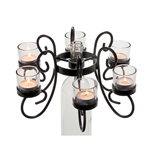 6-Tea Light Candle Classy Black Finish Wine Bottle Candelabra