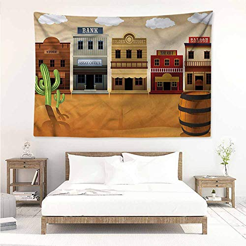 Sunnyhome Wall Tapestry for Bedroom,American Wild West Village Town,Beach Tapestry,W23x19L