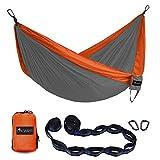 OKWINT Double Camping Hammock Garden Hammock Ultralight Nylon Portable Hammock, Heavy-duty 500lbs Parachute Hammockfor Backpacking, Camping, Travel, Bea (Gray & Orange, Double)