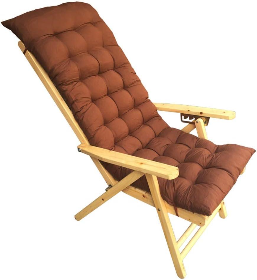 Tumbonas HAIYU- Sillón Reclinable de Madera Maciza, Silla Ancianos con Reposabrazos Madera y Reposacabezas Curvo Jardín Ajustable en 5 Posiciones (Color : Chair+Mat)