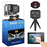 EKEN H5s Plus Ultra HD Action Camera 4K+ 12MP with Touch Screen EIS Underwater Waterproof Cam Remote Sports Camcorder Sony Sensor 170 Degrees Lens with 2 Batteries Accessories Kit and Tripod