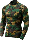 TSLA Men's UPF 50+ Quick Dry Mock Long Sleeve Compression Shirts, Athletic Workout Shirt, Water Sports Rash Guard, Athletic(mut12) - Camo Olive, Small