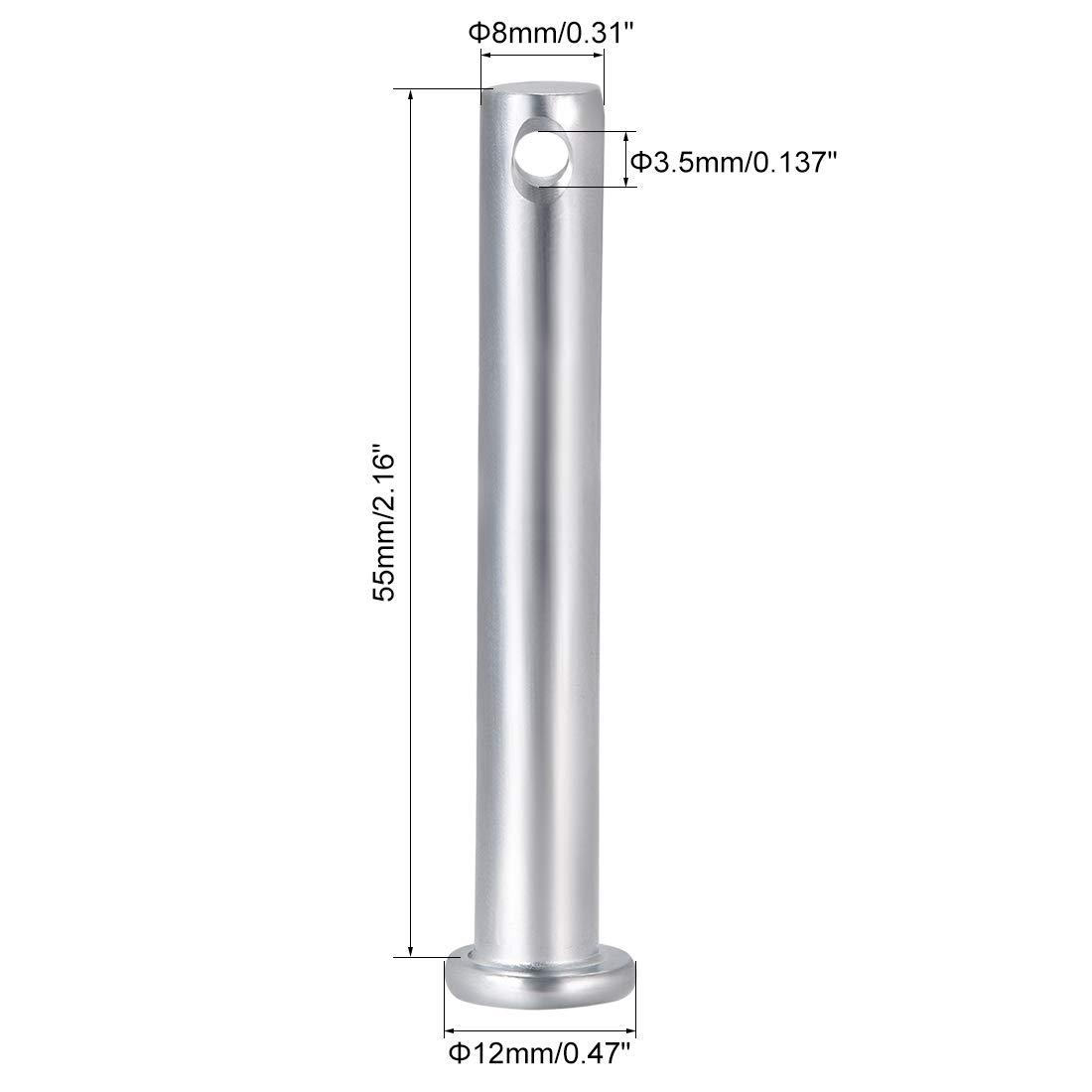 10 mm x 50 mm de cabeza plana de acero galvanizado 10 piezas sourcing map pasadores de horquilla de un solo orificio