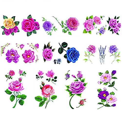 10 Sheets Sexy small flower rose temporary tattoos by Yesallwas,Waterproof long lasting Fake Tattoos Stickers for for kids girls women body tattoos-include red purple pink yellow rose flowers,6cm10.5 -