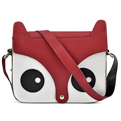 Borsa in ecopelle a forma di gufo OWL BAG pochette effetto 3D MWS AHEAD 24x17x6 cm. MEDIA WAVE store (Rosso)