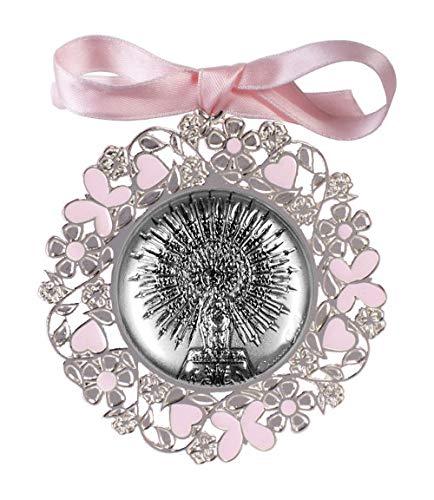 DOCOLASTRA Medalla de cuna o cochecito de la Virgen del Pilar en color rosa o azul en plata bilaminada y esmalte…
