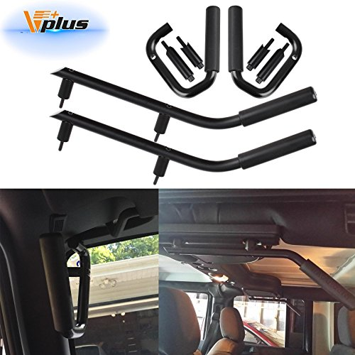 Rear Gra Bars Grab Handle Kit Replacement for 2007 2008 2009 2010 2011 2012 2013 2014 2015 2016 2017 2018 Jeep Wrangler JK 2DR/4DR Solid Steel ()