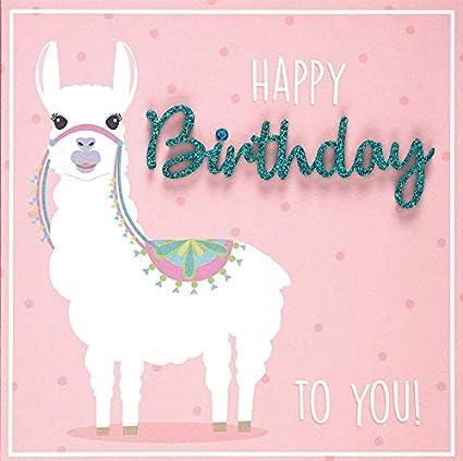 15 x 15 cm Happy Birthday Biglietto di auguri Lettering Lama