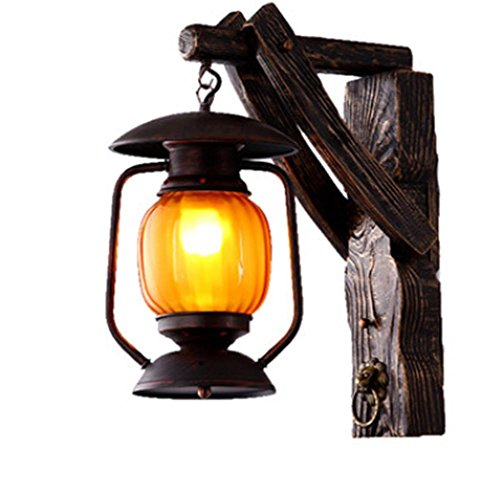 DMMSS Countryside Garden Retro Solid Wood Wall Lamps Creative Creative Bar Lights Aisle Tea House Antique Lights by DMMSS