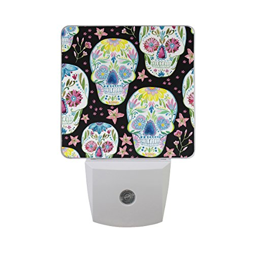 Lámpara LED de noche con sensor de luz, pintura de calavera de azúcar negra impresa luz blanca diurna, paquete de 2, para...