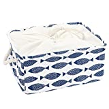 uxcell Canvas Fabric Storage Basket or Bin, Collapsible & Convenient Home Organization Solution for Bedroom Bathroom Dorm or Laundry,Blue Fish (Medium - 14.2 x 10.2 x 6.7 '')