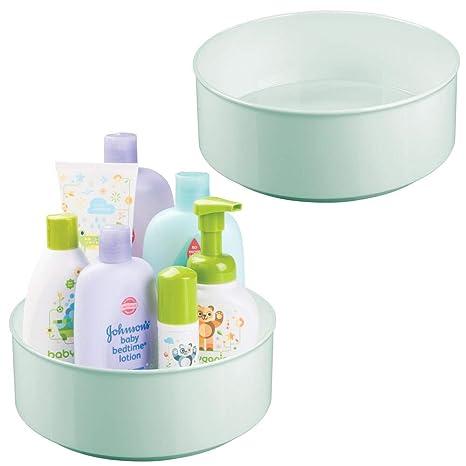mDesign Juego de 2 estantes giratorios para accesorios – Bandeja redonda para accesorios de bebé, biberones o chupetes – Estante con base giratoria en ...