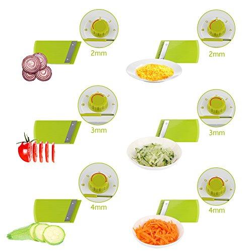Adjustable Mandoline Food Slicer - 4 Blades - Vegetable Cutter, Cheese Grater, Julienne Vegetable Slicer & Fine Grater - Compact, Veggie Slicer Kitchen Gadget Slicer Dicer, Dishwasher Safe by Chugod (Image #3)
