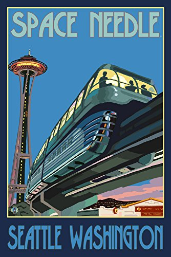 Seattle, Washington - Space Needle and Monorail (9x12 Art Print, Wall Decor Travel -