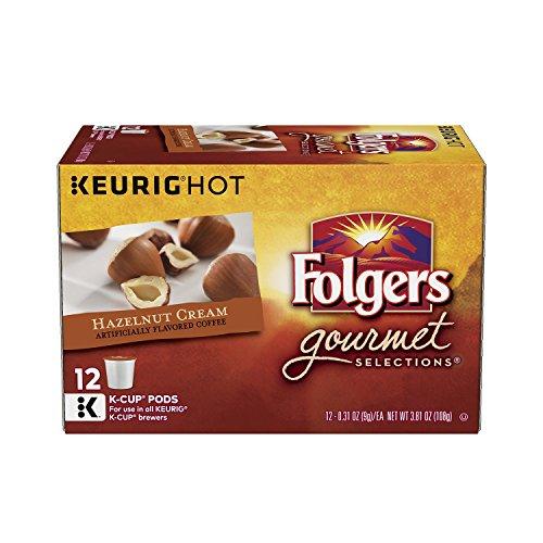 Ground Coffee Hazelnut Cream - Folgers Hazelnut Cream Flavored Ground Coffee K-Cup Pods for Keurig Brewers, 12 ct