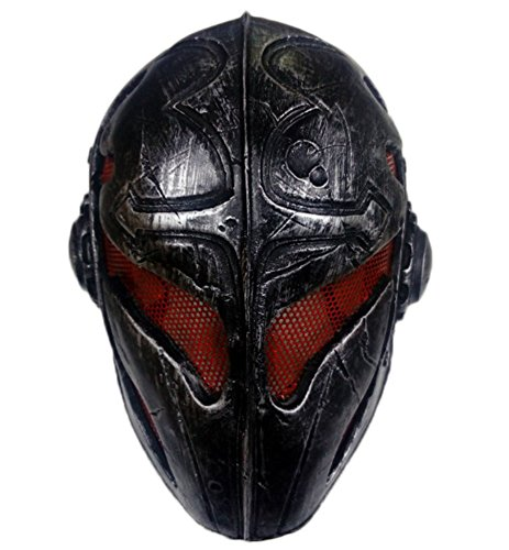 OSdream Wire Mesh Full Face Protection Paintball Mask Templar (Black (Red Professional Paintball Mask)
