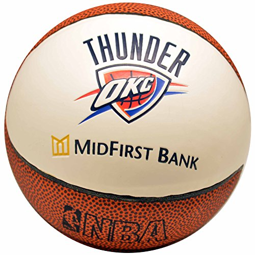 City Thunder Mini Basketball - Spalding NBA Oklahoma City Thunder Mid First Bank Team Colors And Logo Mini Basketball
