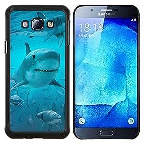 LECELL--Funda protectora / Cubierta / Piel For Samsung Galaxy A8 A8000 -- Sonrisa Tiburón divertido Ocean Blue Mar --