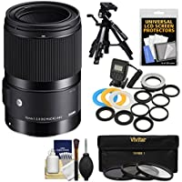 Sigma 70mm f/2.8 ART DG Macro Lens with LED Ring Light & Flash + Tripod + Filters Kit for Canon EOS DSLR Cameras