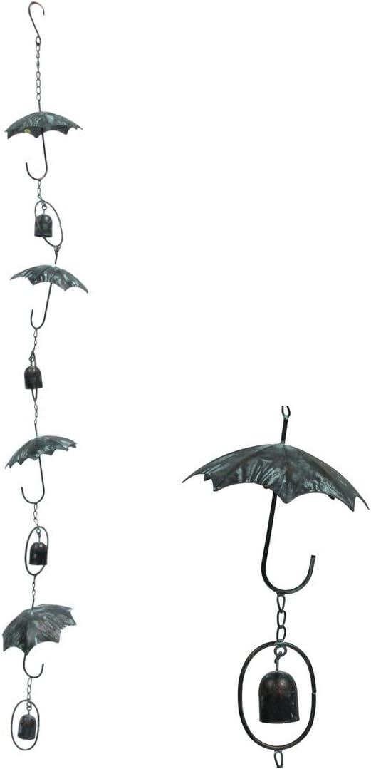 TG,LLC Treasure Gurus Rustic Metal Hanging Rain Umbrella Yard Wind Chime Kinetic Patio Garden Front Porch Decor