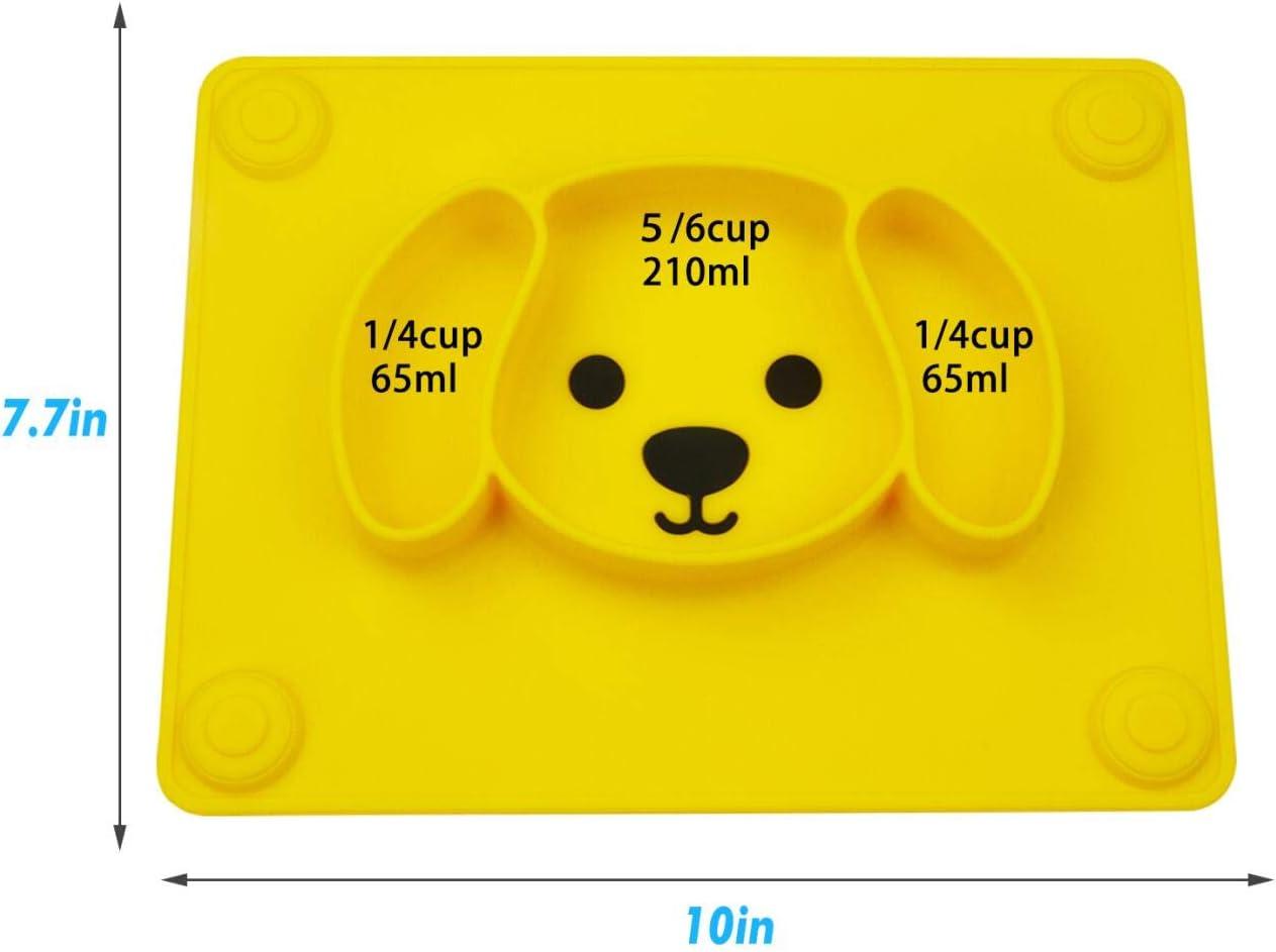 piastre per bambini portatili per bambini Piastre per neonati in silicone aspirazione potente su tavola lavastoviglie e microonde sicura dalla FDA Qshare