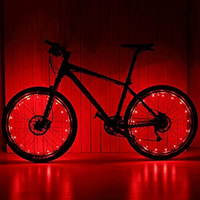 USB Rechargeable Bike Spoke Lights String Cycling Wheel Lights Bicycle Lightweight Accessory(red)