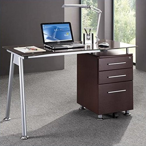 Tempered Glass File Cabinet (TECHNI MOBILI Stylish Brown Tempered Glass Top Computer Desk with Storage - Chocolate)