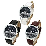 Top Plaza Unisex Simple Casual Silver Tone Analog Watch Geometric Pattern No Number Dial PU Leather Strap Quartz Watch(Pack of 3)