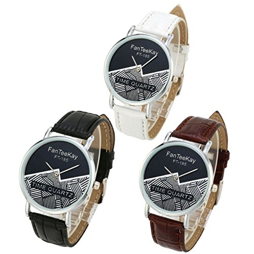 Top Plaza Unisex Simple Casual Silver Tone Analog Watch Geometric Pattern No Number Dial PU Leather Strap Quartz Watch(Pack of 3) by Top Plaza (Image #7)