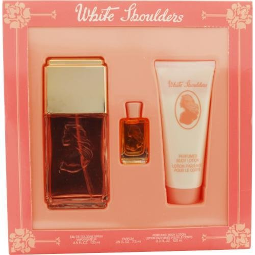 New - WHITE SHOULDERS by Evyan EAU DE COLOGNE SPRAY 4.5 OZ & BODY LOTION 3.3 OZ & PARFUM .25 OZ MINI - (0.25 Ounce Cologne Spray)