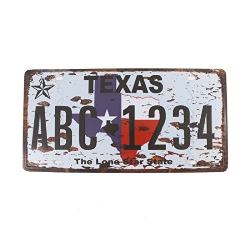 6x12 Inches Vintage Feel Rustic Home,bathroom and Bar Wall Decor Car Vehicle License Plate Souvenir Metal Tin Sign Plaque (TEXAS THE LONE STAR STATE) (Rustic Garden Furniture Old)