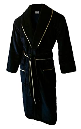 John Christian Luxury Collection - Velour Dressing Gown - Black with Gold  Piping  Amazon.co.uk  Clothing 03e5cf971