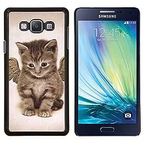 Gatito del bebé del ángel de Maine Coon- Metal de aluminio y de plástico duro Caja del teléfono - Negro - Samsung Galaxy A7 / SM-A700