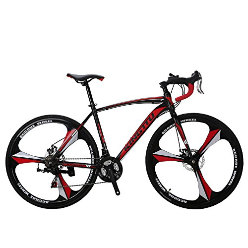 VTSP XC550 Road Bicycle 700Cx28C Steel Hard Frame 21 Speed Road Bike 3-knife Integrated Wheel Curved Handlebar Double Disc Brake Cycling Birthday Gifts For Man US Warehouse (RED) VTSP