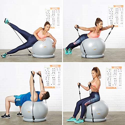 Exercise Ball Chair - 65cm & 75cm Yoga Fitness Pilates Ball & Stability Base for Home Gym & Office - Resistance Bands, Workout Poster & Pump. Improves Balance, Core Strength & Posture - Men & Women by Mantra Sports (Image #4)
