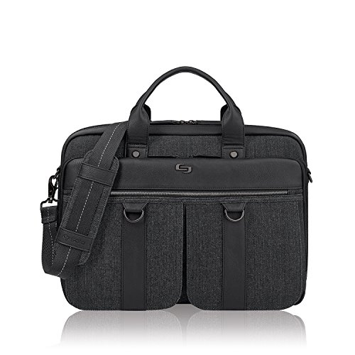 Solo Mercer 15.6 Inch Laptop Briefcase, Black/Grey (Briefcase Vinyl Womens)