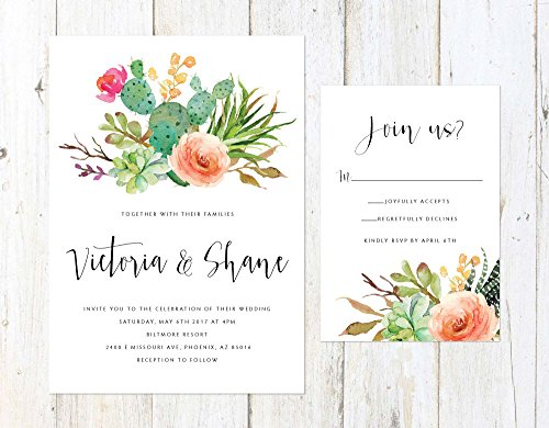 Cactus and Succulent Invitation, Desert Wedding Invitation, Arizona Invitation, Palm Springs Invitation by Alexa Nelson Prints