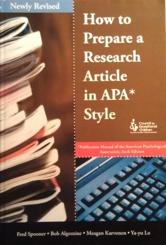 How To Prepare A Research Article In APA Style, Revised