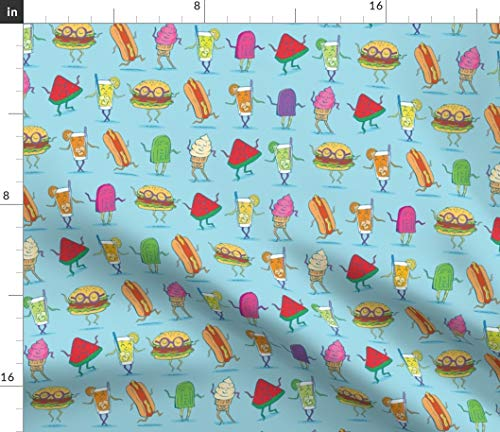 (Spoonflower Grill Out Food Pattern BBQ Fabric - BBQ Food Outdoors BBQ Summer Barbecue Cookout Summertime Hotdogs Hamburgers Summer Cookout by Tinastextiles Printed on Sport Lycra Fabric by The Yard)