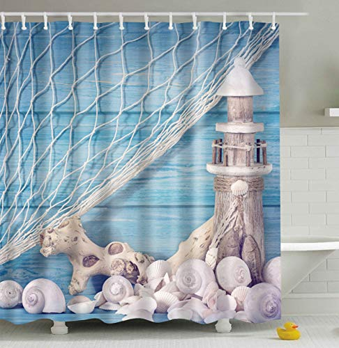 CapiSco Shower Curtain Bathroom Decoration Water Resistant Fabric,Lighthouse Shell,Blue and White,72