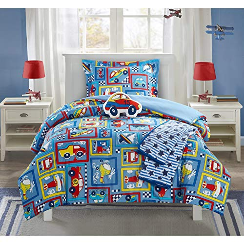 MISC 4 Piece Transportation Comforter Twin Set Helicopter Bedding Automobile Train Air Plane Race Car Bus Auto Patchwork Themed Pattern Blue Red Yellow, -