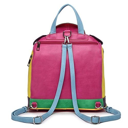 W Adjustable Zipper Backpack Shoulder Studded Fuchsia Color Straps Multi Biker qgxXvBa